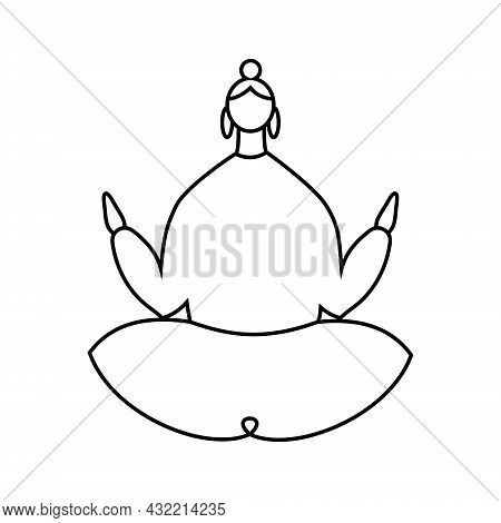 Black Contour Of Woman Sitting In A Lotus Pose On White. The Cartoon Character Does Yoga. Concept Of