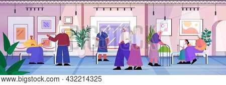 Senior People Visiting Art Gallery Aged Men Women Visitors Viewing Exhibits In Museum Old Age Concep