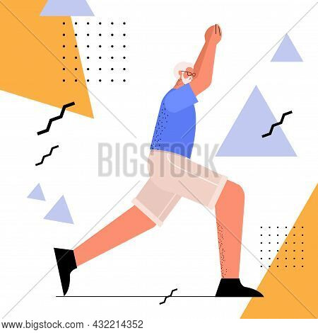 Senior Man Doing Squats Aged Sportsman Training In Gym Aerobic Workout Healthy Lifestyle Active Old