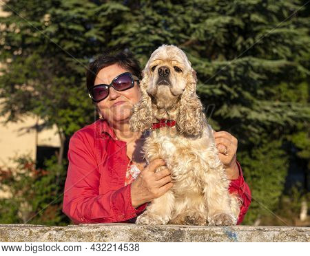 Senior Woman With American Cocker Spaniel Posing Outdoors