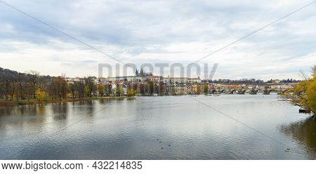 Prague, Czech Republic - November 9, 2015:vltava River In The Center Of The Tourist City