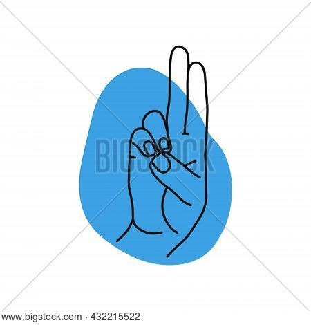 Mudra - Prana. Hands Vector Illustration. Yogic Hand Gesture. Black And White Linear Style.