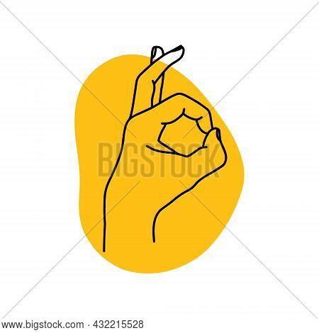 Linear Hand Illustration Showing Ok Sign. Yoga Mudra - Gyan. Stock Vector Illustration.