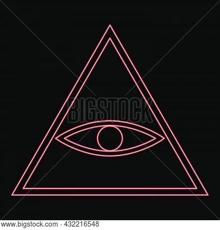 Neon All Seeing Eye Symbol Red Color Vector Illustration Flat Style Light Image