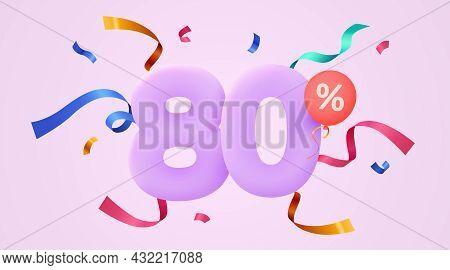 80 Percent Off. Discount Creative Composition. 3d Sale Symbol With Decorative Confetti. Sale Banner