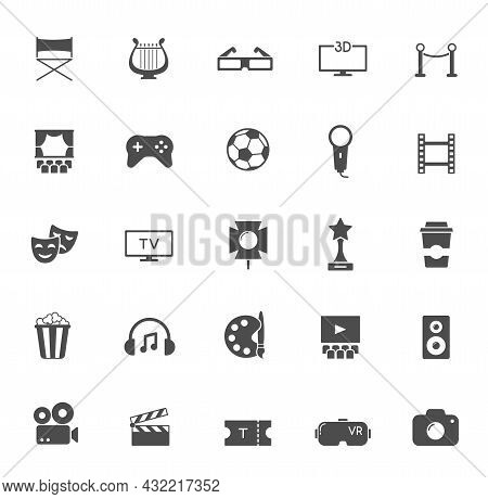 Entertainment Silhouette Vector Icons Isolated On White. Entertainment Icon Set For Web, Mobile Apps