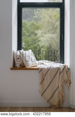 Home Interior, Cozy House Room With Blanket At Window. Modern Hygge Design Of Relax Place At Windows