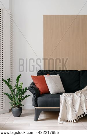 Home Interior, Decor For Living Room Design. Couch Furniture At Modern Apartment, Minimalistic Style
