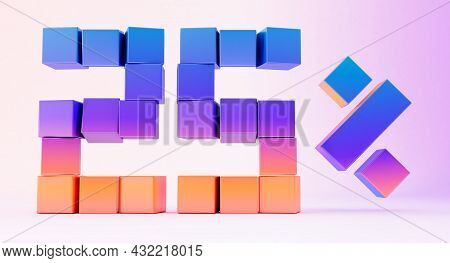 Colorful Boxes Forming The Number Twenty Five Isolated On White Background, 3d Render