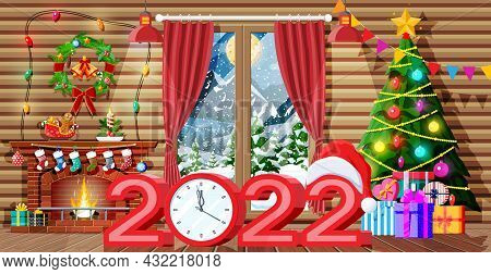 Christmas Interior Of Room With Tree, Window, Gifts And Decorated Fireplace. Happy New Year Decorati
