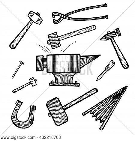 Blacksmithing, Anvil, Tongs, Hammer And Sledgehammer, Nail, Chisel And Horseshoe, Vector Illustratio