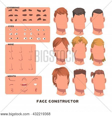Man Face Constructor With Head And Spare Parts Like Eyebrow, Eyes And Mouth Vector Set