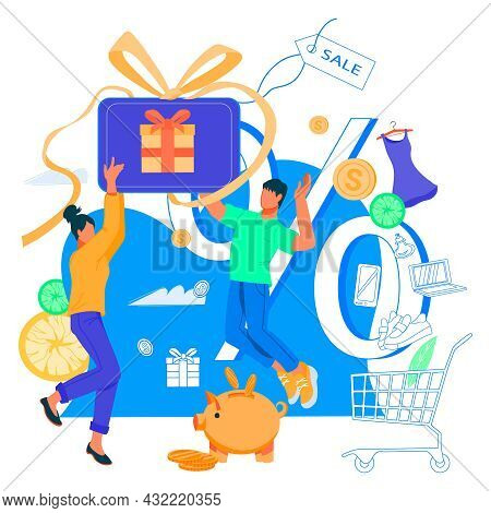 Cash Back And Earn Points Banner With Happy Clients Getting Cash Rewards And Gift From Online Shop.
