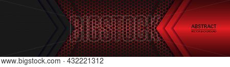 Black And Red Arrows On The Dark Red Carbon Fiber Grid. Black Carbon Fiber Hexagon Texture.