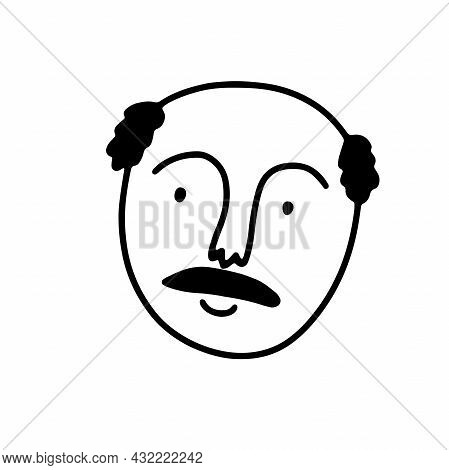Doodle Kind Man Face. Hand-drawn Outline Human Isolated On White Background. Funny Smile Avatar. Car