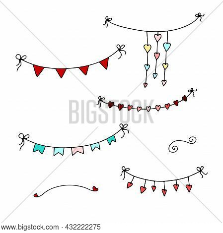Doodle Valentines Day Garlands Set. Hand-drawn Festoon Isolated On White Background. Color Festive D