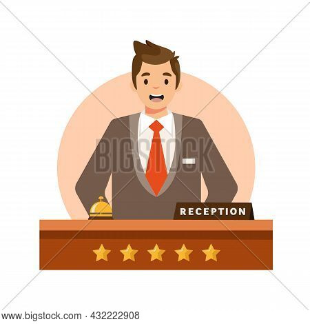 Happy Male Receptionist Standing At Hotel Isolated On White Background. Hotel Reception Concept. Vec