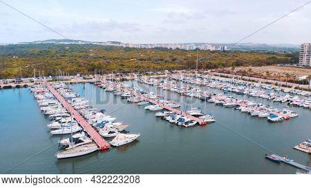 Benidorm, Spain 18.08.2021 - Aerial Shot Of Benidorm Port With Boats And Yachts At Playa De Poniente
