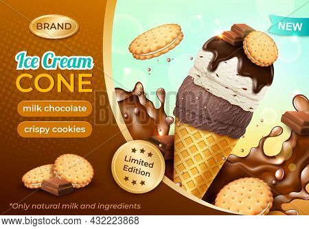 Realistic Detailed 3d Milk Chocolate With Crispy Cookies Ice Cream Cone Ads Banner Concept Poster Ca