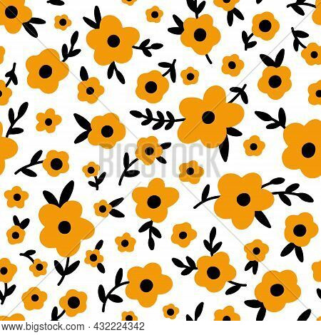 Ditsy Floral Seamless Pattern. Small Orange Black Meadow Flowers On White Background. Vintage Libert