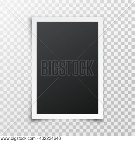 Realistic Blank Photo Frame With Shadow Isolated On Transparent Background. Vertical Photo Frame. Bl