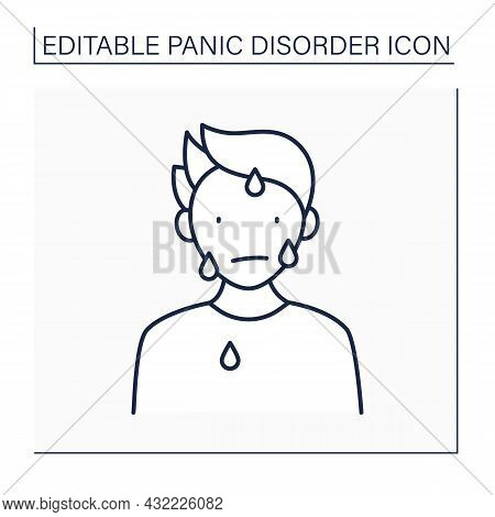 Sweating Line Icon. Excessive Sweating. Sweat Due To Stress, Panic Attacks, Fair. Panic Disorder Con