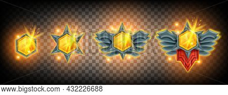 Game Gem Vector Jewel Illustration Set, Diamond Treasure Achievement Badge, Winner Level Up Medal. U