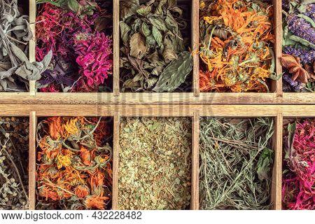 Assortment Of Dried Relaxing Tea Herbs In Wood Tea Box Close Up. Calendula, Mint, Camomile, Anise Hy