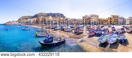 Colorful Fishing Boats At The Port Of Aspra, Sicily