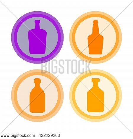 Bottle Of Liquor, Whiskey, Rum, Tequila. Background Is Circle. Isolated Color Object Design Beverage