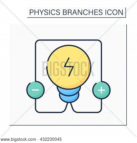 Electricity Color Icon. Electrical Phenomena. Interaction Between Charged Bodies, Polarization And P