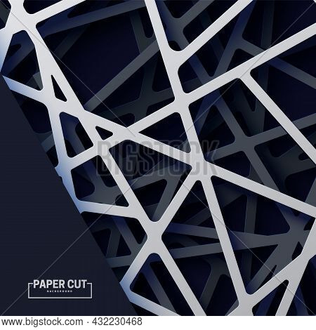 3d Realistic Backdrop With Cutout Silver And Black Color Stripes Entangled Web. Abstract Luxury Back