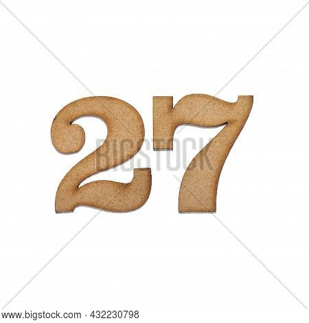 Number Twenty-seven, 27 - Piece Of Wood Isolated On White Background