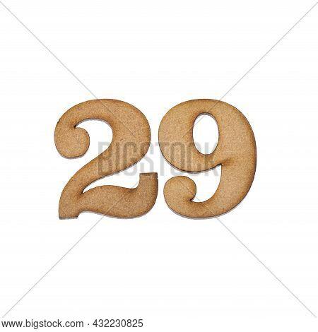 Number Twenty-nine, 29 - Piece Of Wood Isolated On White Background