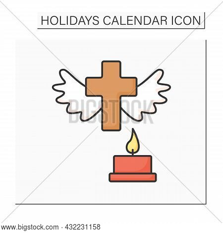 All Saint Day Color Icon. Honour Deceased Relatives. Bringing Flowers, Flash Candles And Pray For So