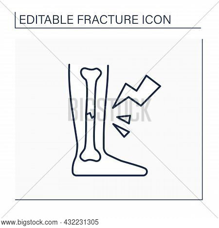 Foot Fractures Line Icon. Foot Pain. Hairline Crush. Healthcare Concept. Isolated Vector Illustratio