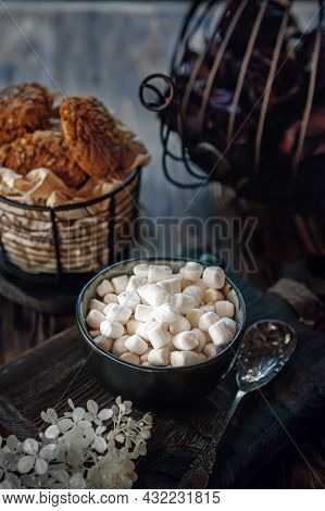 Coffee With Marshmallows. Delicious Drink Made Of Cocoa Or Hot Chocolate With Marshmallows In A Cup