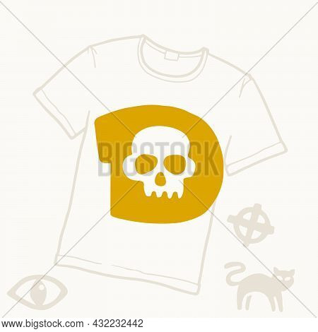 D Letter Logo With A Skull. Vector Template For Your Halloween T-shirt Design.