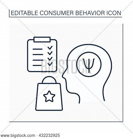 Psychological Factors Line Icon.motivation, Perception, Learning, And Attitude Or Belief System. Ana