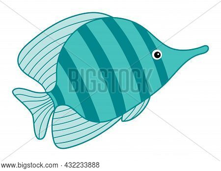 Isolated Cute Tropical Turquoise Fish With Stripes. Vector Cartoon Fish. Fish Vector Illustration