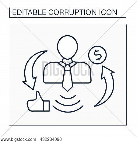 Influence Peddling Line Icon.influence In Government Or Connections With Persons In Authority For Ge