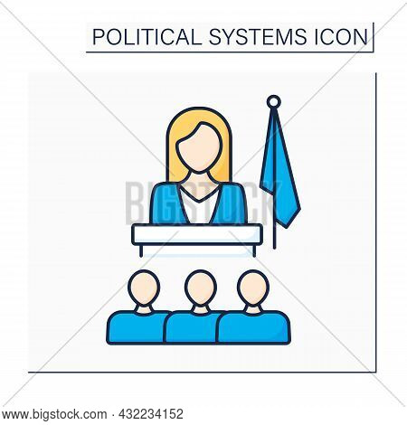 Matriarchate Color Icon. Social Organization Form. Female Government, Society, Family Head. Female D