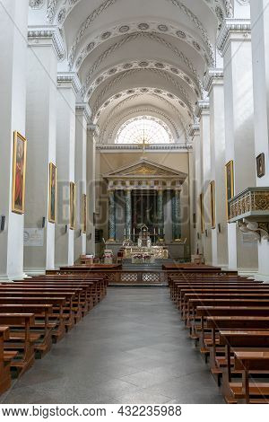 Interior View Of The Vilnius Cathedral And Cathedral Square In Vilnius Old Town