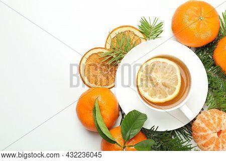 Concept Of Mandarin Tea On White Background