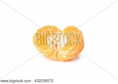 Half Of Mandarin Isolated On White Background