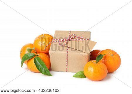 Mandarins And Gift Box Isolated On White Background