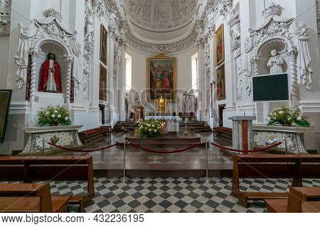 Interior View Of The Church Of Saint Peter And Saint Paul In Vilnius With The Altar
