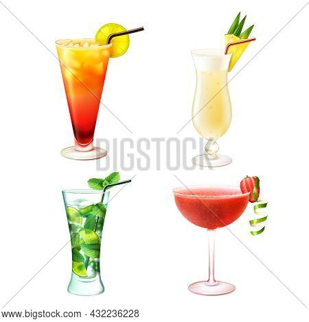 Cocktail Alcohol Drinks Realistic Decorative Icons Set With Sex On The Beach Pina Colada Mojito Stra