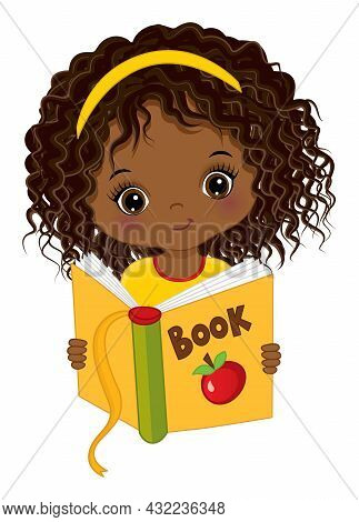 Cute Little Black Girl Reading Book. Vector Back To School. Little African American Girl Is Curly. L