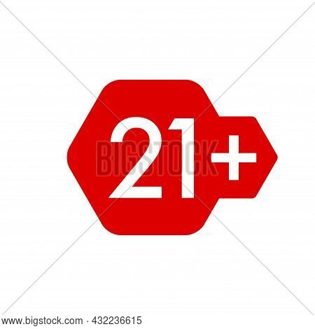 21 Plus Years Old Icon Vector Set. Adults Content. 21 Age Restriction Signs. Twenty One Plus Years S